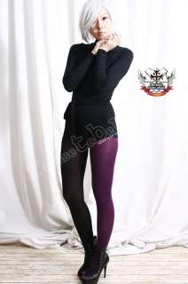 Opaque Punk Dance Half Tights Pantyhose EGGPLANT PURPLE