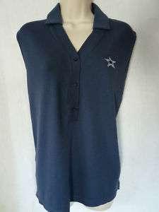 DALLAS COWBOYS New Navy Polo Collar Button Shirt Med