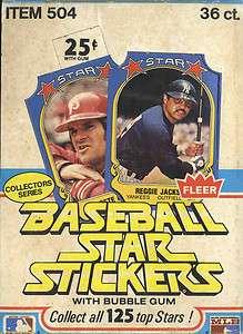 1981 Fleer Baseball Star Stickers Box; 36 Packs Per Box