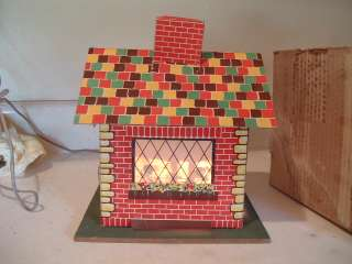 RARE Antique House Motion Lamp Merry Christmas Happy New Year