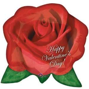 Happy Valentines Day Red Rose 27 Mylar Balloon Toys & Games
