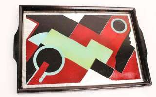 French ART DECO machine age SERVICE TRAY reverse painted Glass JAZZ