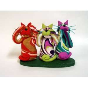 Handmade Cat Trio   Hear, Speak, See No Evil by GP
