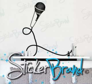 Vinyl Wall Decal Sticker Mic and Cord 37X 38 (s)
