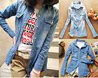 Retro Womens Pale Wash Long sleeved Denim Shirts Casual Jean Blouses