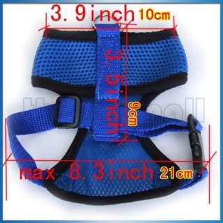 Dog Pet Soft Mesh Safety Harness Vest Clothes M Blue