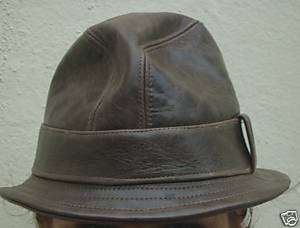 Fedora Snatch hat chocolate brown leather S/M/L/XL