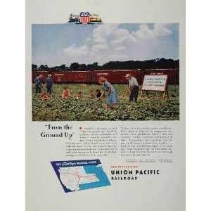 1944 Ad WWII Union Pacific Railroad Victory Garden   Original Print Ad