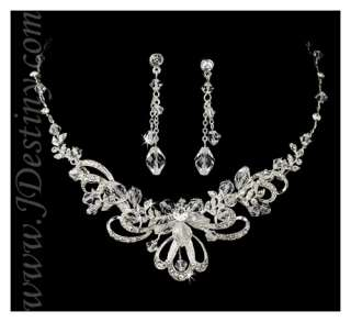 Wedding Bridal Crystal Necklace Earrings Set Prom A297