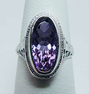 SMCO Antique 4ct Amethyst Filigree Ring 14K White Gold Estate Jewelry