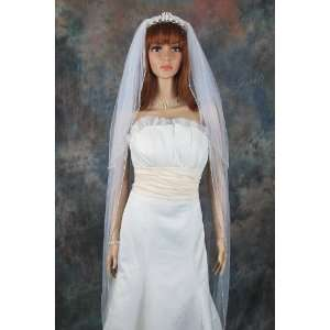 2T White Cathedral Pearl Beaded Trim Wedding Bridal Veil Beauty