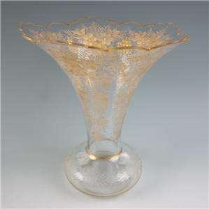 Large Antique Moser Enamel Engraved Cut Glass Vase Bohemian Gold