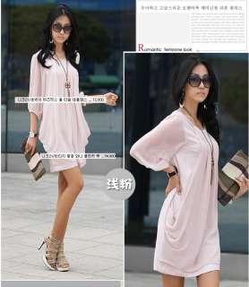 New Fashion Ladys Graceful Chiffon Casual Short Sleeve Pink Black