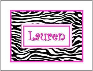 Zebra Print #5 Personalized Note Cards ~ Pink