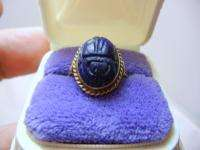 ART DECO 14K SOLID YELLOW GOLD CARVED LAPIS STONE SCARAB BEETLE BUG