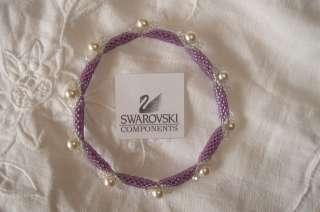Bracciale Braccialetto Rigido fatto con perline Miyuki, Bicono e Perle