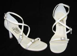 NEW White Criss Cross Strap Rhinestone Wedding Shoes