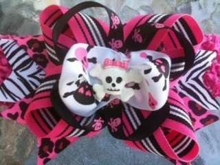 Baby Girls Pink Skulls Boutique Hair Bow on a Headband
