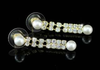 Bridal Faux Pearl Gold Plat Necklace Earrings Set S1149