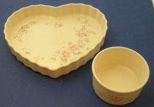 Pfaltzgraff Tea Rose Heart Shaped Baker Quiche Dip Bowl