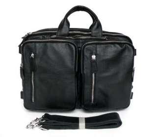 Cow Leather Mens Black Hand Laptop Bag Backpack Travel Cross Body Bag