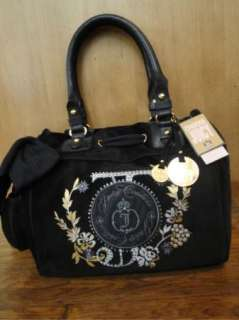 Juicy Couture Black J Crest Velour Daydreamer Tote NWT