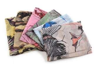 Women Fashion begonia flower ink style cotton neck scarf shawl Gift