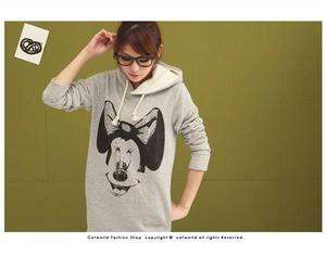 New Women cartoon Mickey Mouse CML6160G Hoodie Long Top Outerwear