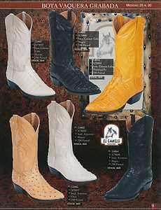 JR Ostrich/Caiman Tail Print Mens Leather Cowboy Boots Diff. Colors
