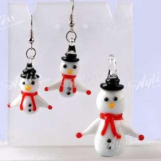 Lampwork Glass Snowman Bead Pendant Dangle Earring Set Christmas Gift