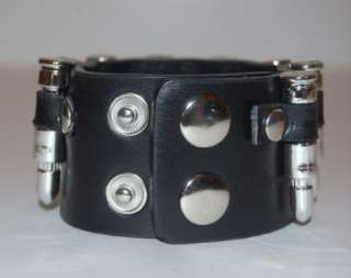 SILVER BULLET CUFF BLACK LEATHER BRACELET EMO PUNK .NEW