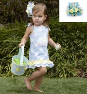 Mud Pie Cottontail Easter Bunny Rabbit Baby Blue Polka Dot White Dress