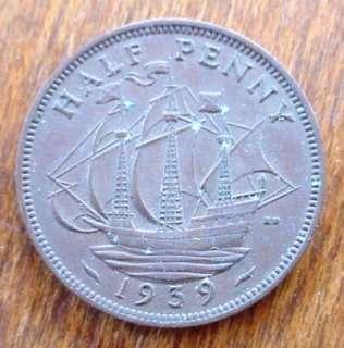 NIce 1939 HALF PENNY British COIN King George VI Ship