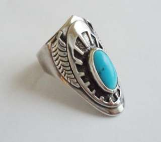 BEN NIGHTHORSE Sterling Silver & Turquoise Overlay Style Ring