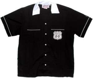 Black CLASSIC Retro Bowling shirt Rt. 66 Shield on POCKET Get ready to
