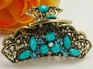 Turquoise gem butterfly swarovski crystals women retro hair claw clip