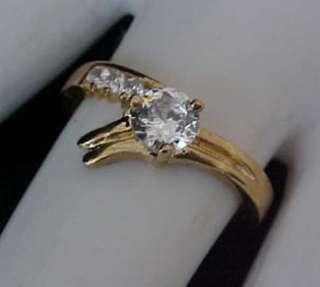 Brilliant cut ROUND Solitaire cz Gold ep Engagement Wedding Ring Sz8