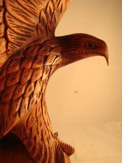 16 Bali Hand Carved Natural Dark Stain Suar Wood Bald Eagle on Globe