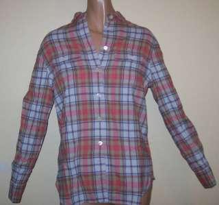 NWT $69 J Crew Guava Sconset Plaid Button Down Shirt Ladies Size Large
