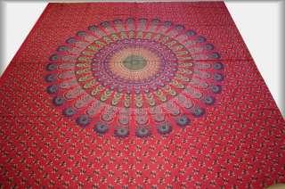 Tagesdecke MANDALA Bettüberwurf Dekotuch Indien Rot G58