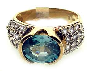Vintage 14k Gold Diamond & Blue Zircon Ring 3.25 Ct. VS Calrity .80 Ct