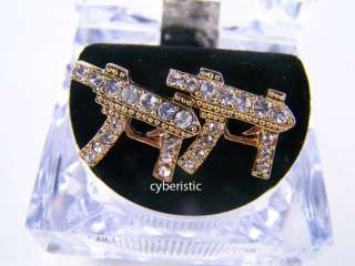 Gold Mens Iced Machine Gun Pistol CZ Hip Hop Earrings