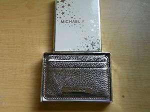 Kors Gunmetal Leather 5 Slot Case Credit Card Business Card Holder New