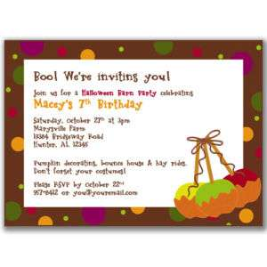 Caramel Apple Invitations Halloween Party Kids Birthday