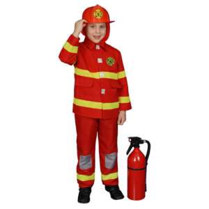 red FIRE FIGHTER fire man kids boys halloween costume red S