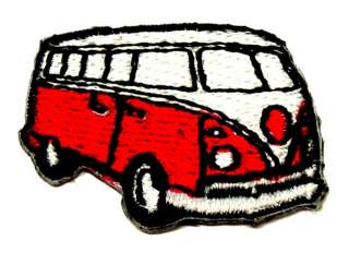 Applikation Patch Biker VW Bus Farbe Rot Weiss 3x2cm