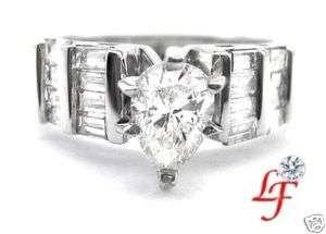 55 ct PEAR SHAPED CUT DIAMOND ENGAGEMENT RING 14k WG