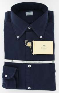 New $425 Borrelli Navy Blue Shirt 16/41