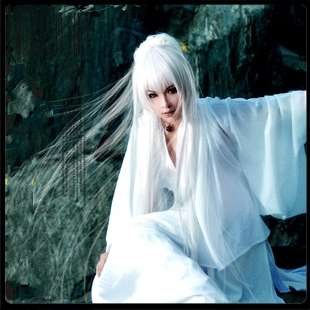 New VOCALOID haku Cosplay White Long Party Hair wig M14