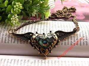 peacock feather pattern heart angel wings bead necklace